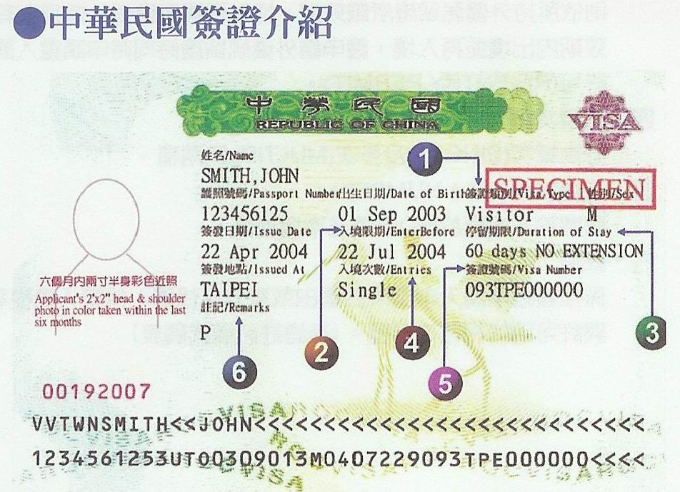VisaExample Taiwan Visa Application Form For China Pport on